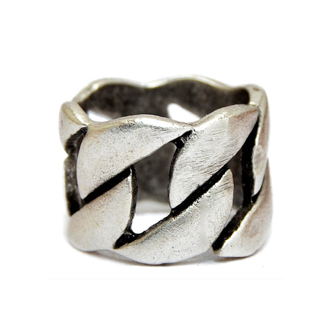 Chunky silver braided unisex ring
