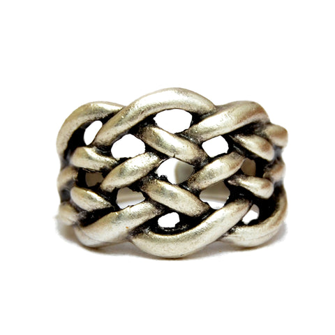 Elegant statement silver braided ring