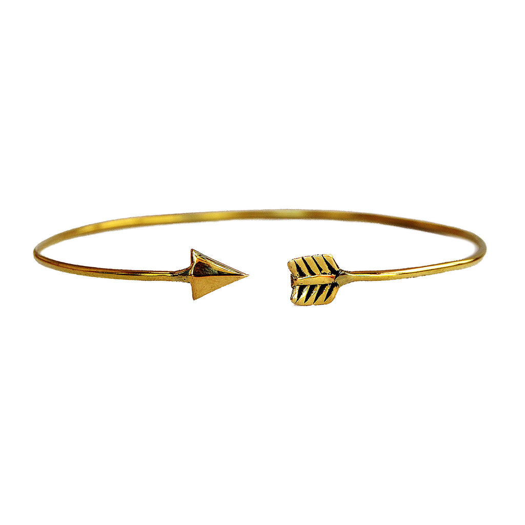 Adjustable boho brass arrow bracelet