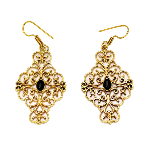 Indian brass filigree earrings with black onyx gemstone