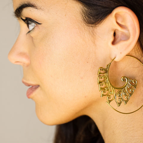 Large spiral brass floral earrings