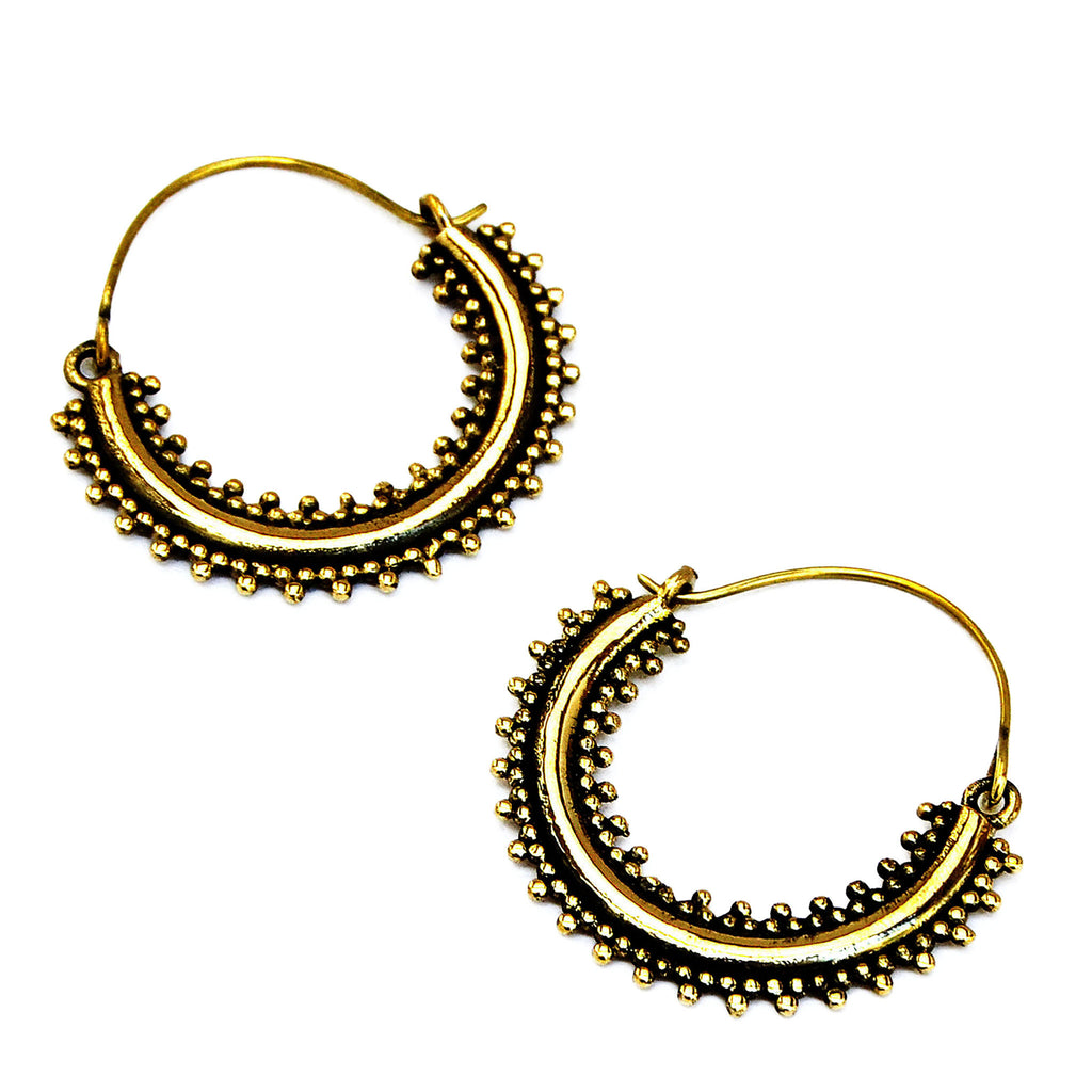 Brass ethnic hoop earrings