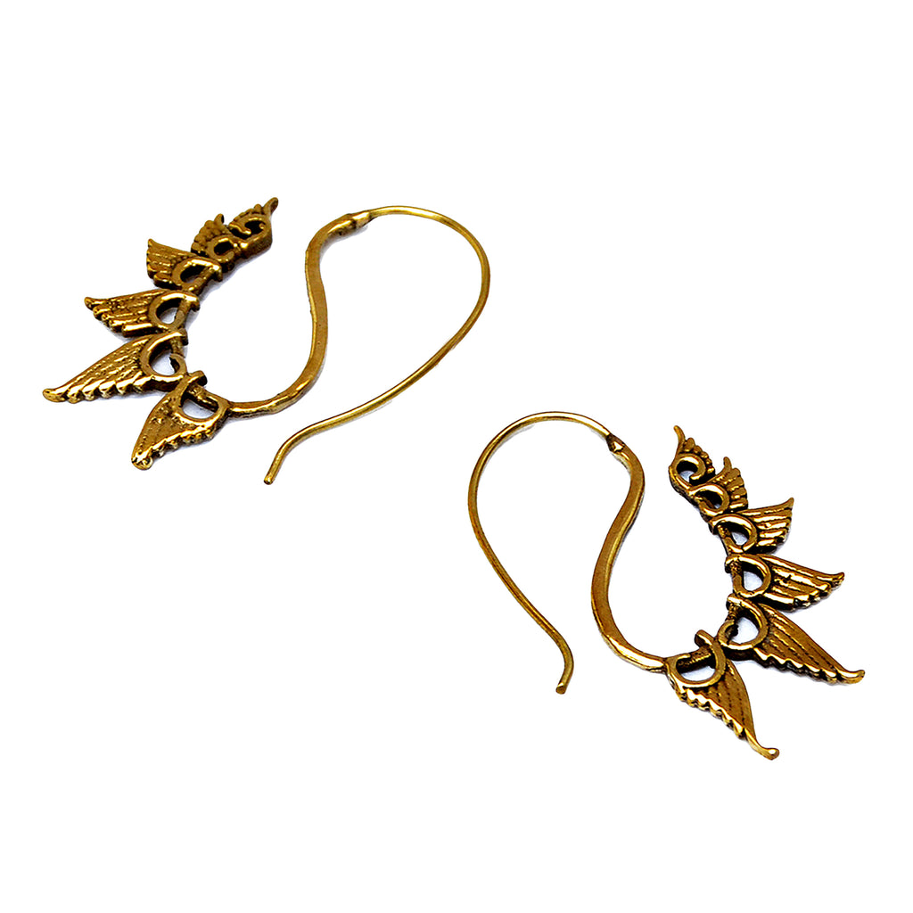 Tribal brass wings earrings