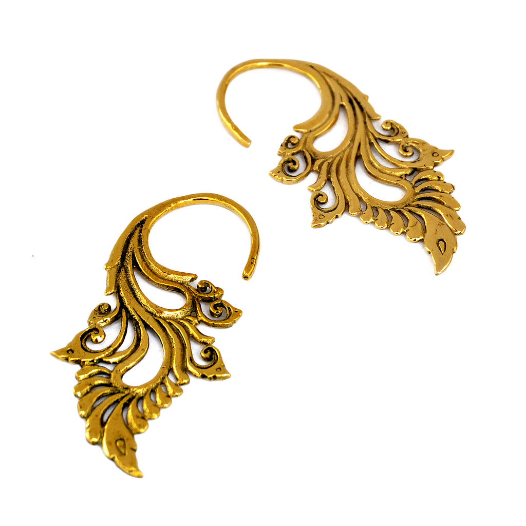 Brass tribal piercing earrings