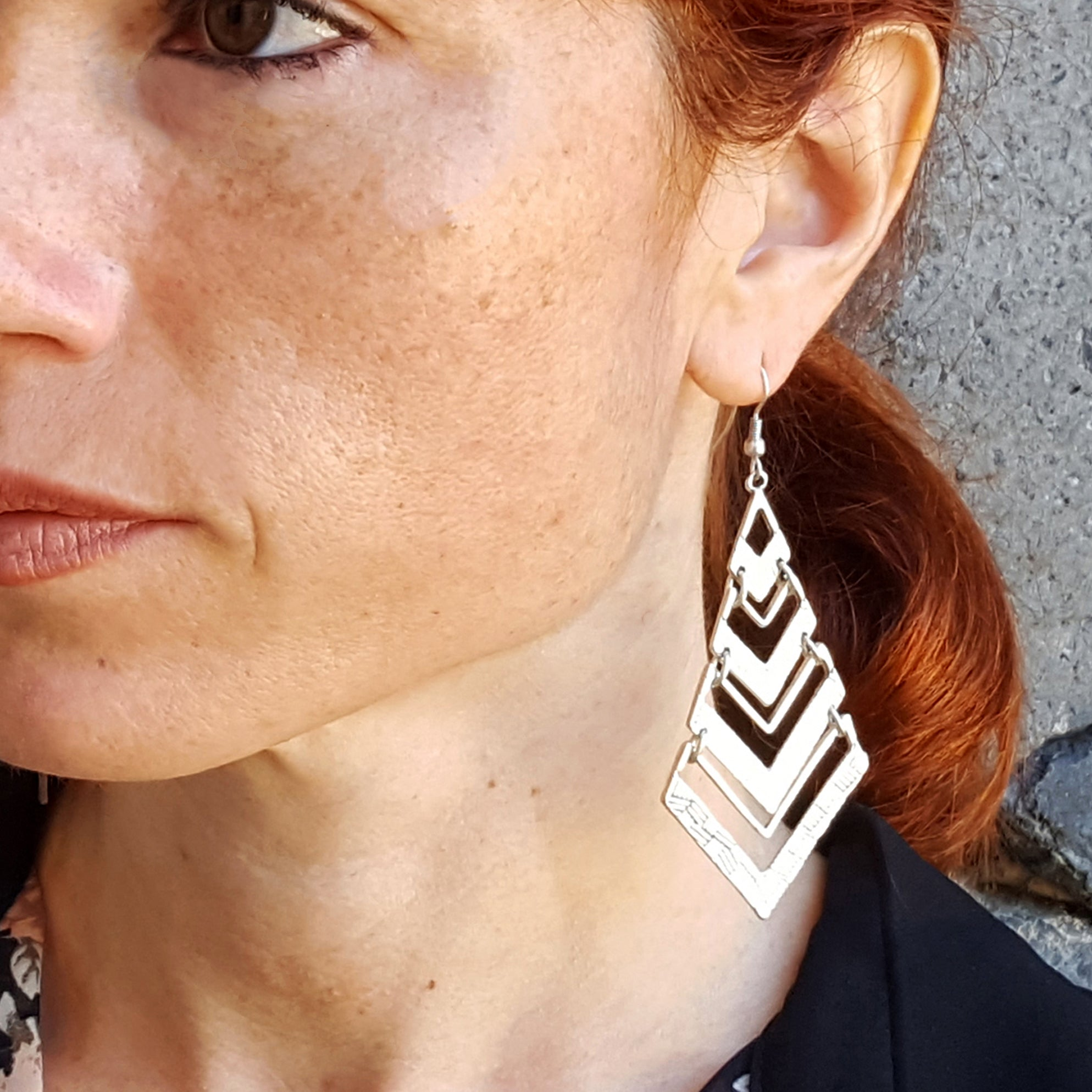 Tribal geometric earrings silver