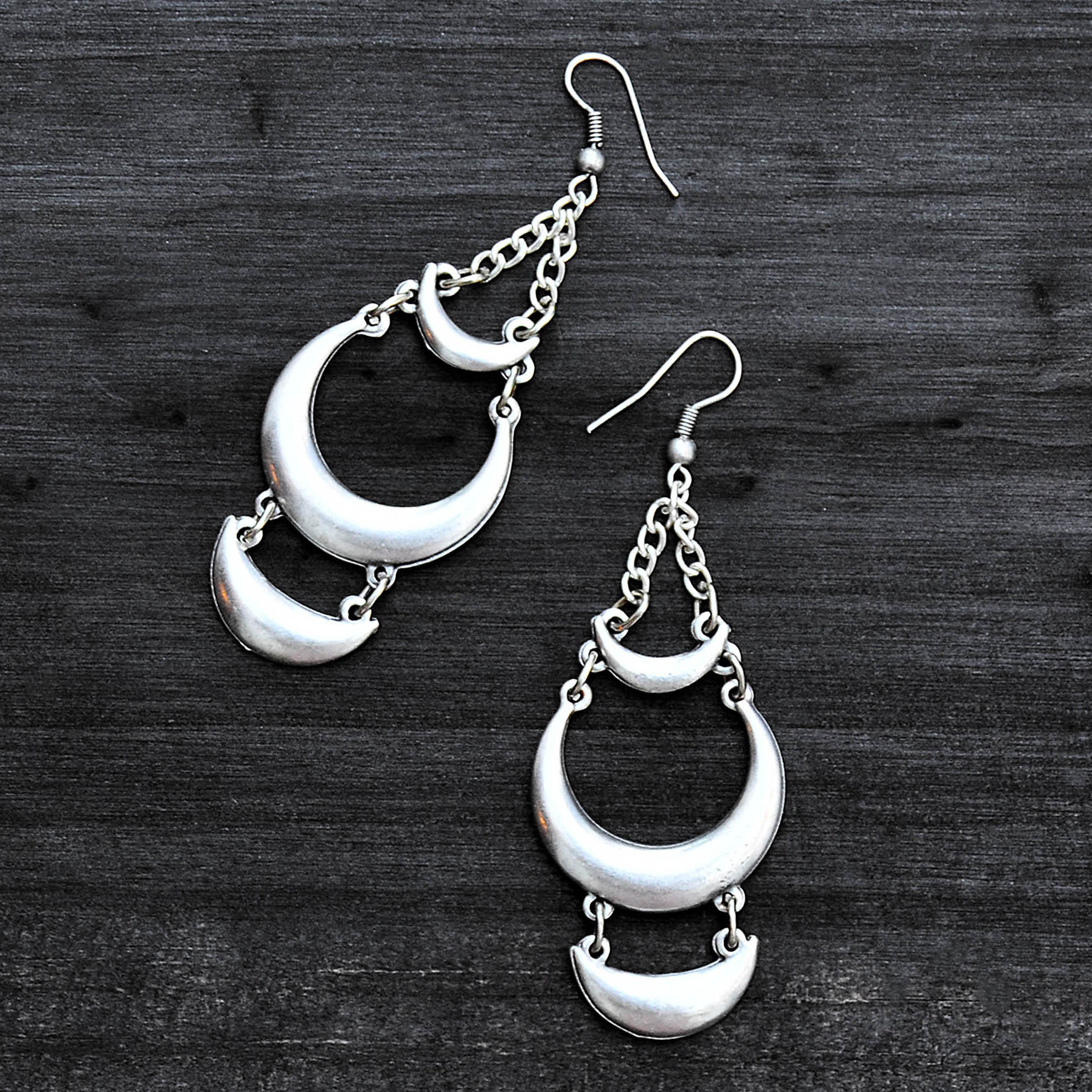 Silver long loop earrings