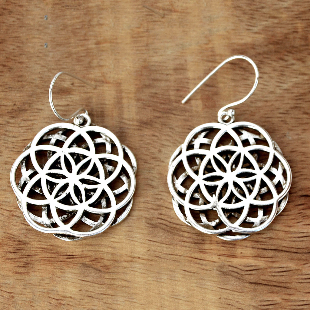 Flower of life mandala earrings