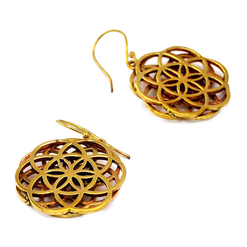 Double flower of life mandala earrings