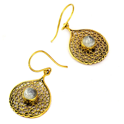 Brass filigree earrings with indian moonstone