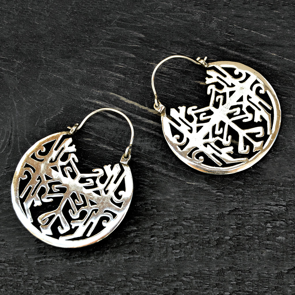 Aztec tribal silver hoop earrings