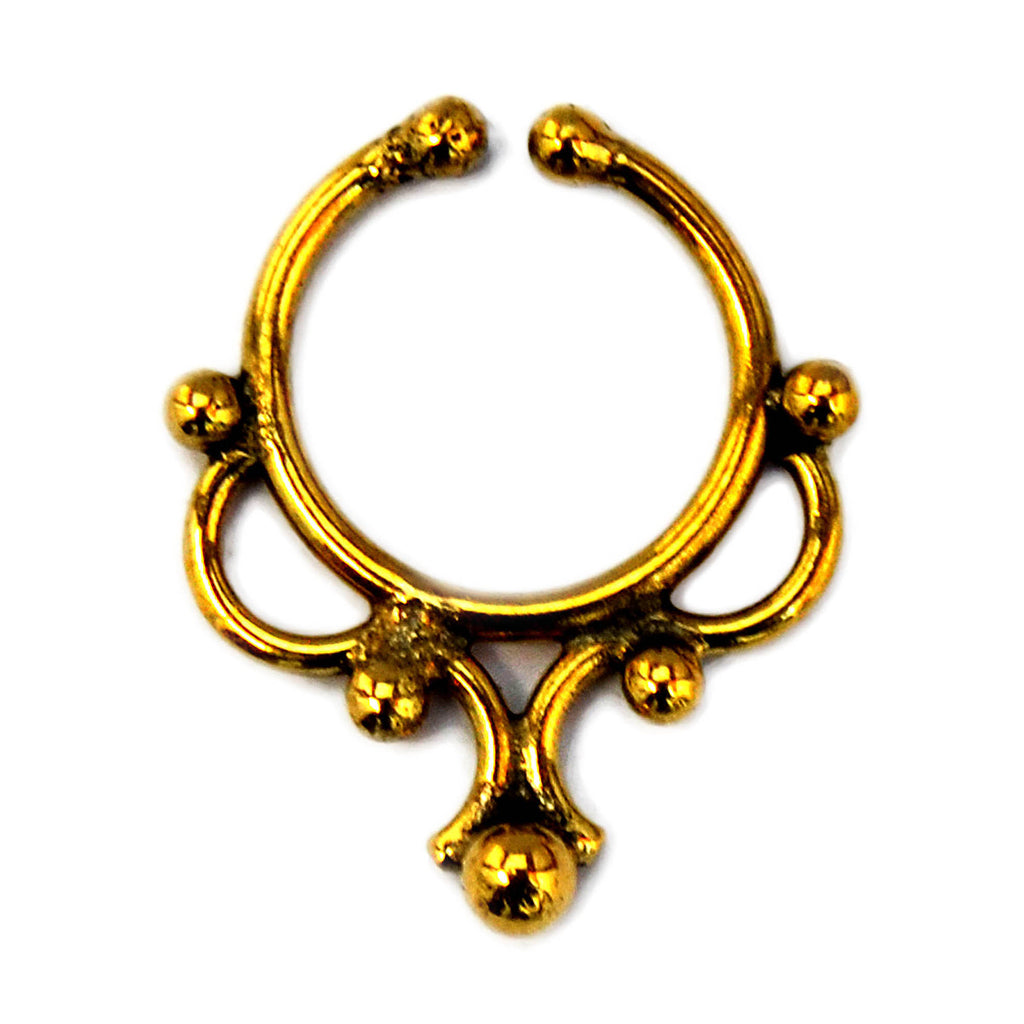 Gold indian ethnic faux septum ring