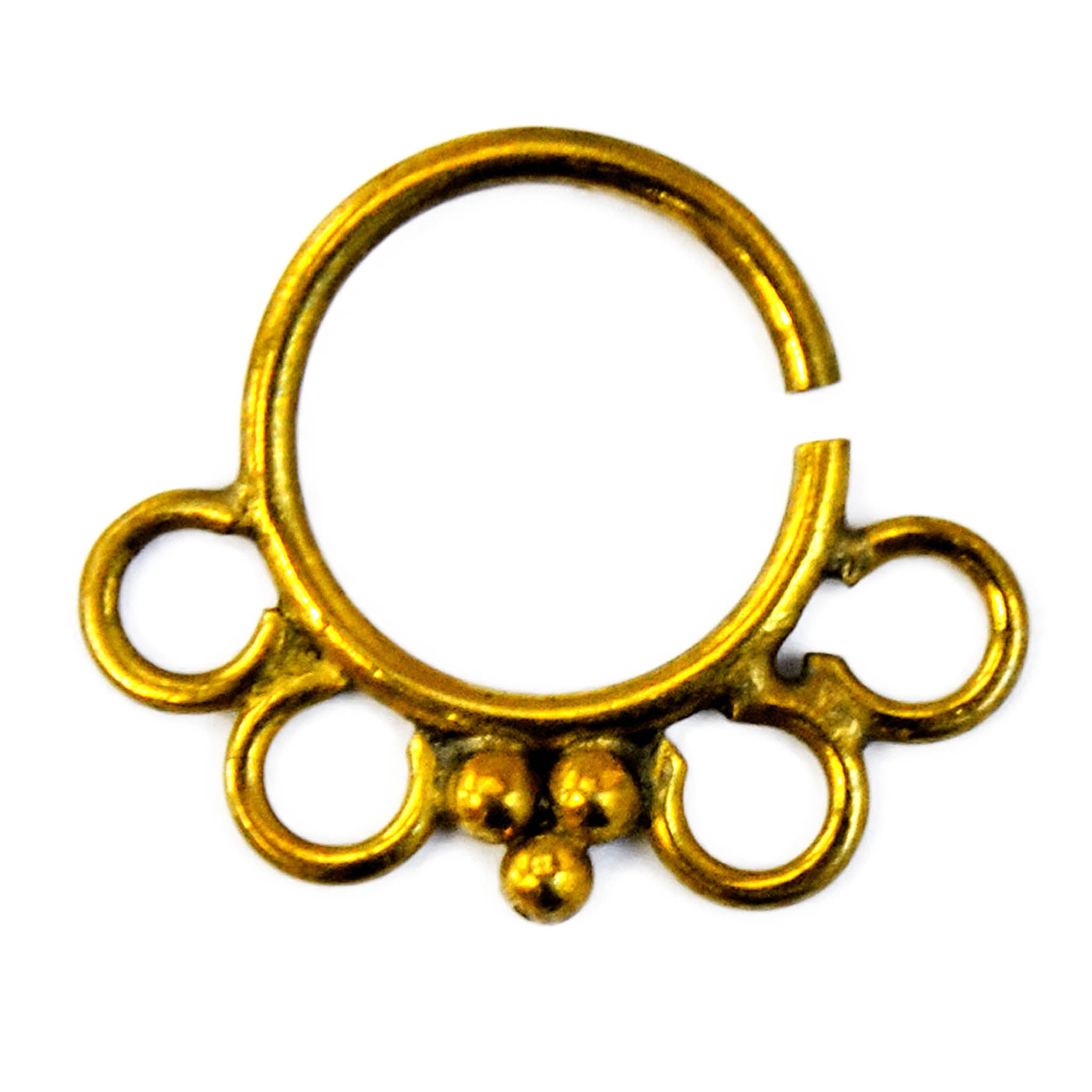 Gold ethnic septum ring