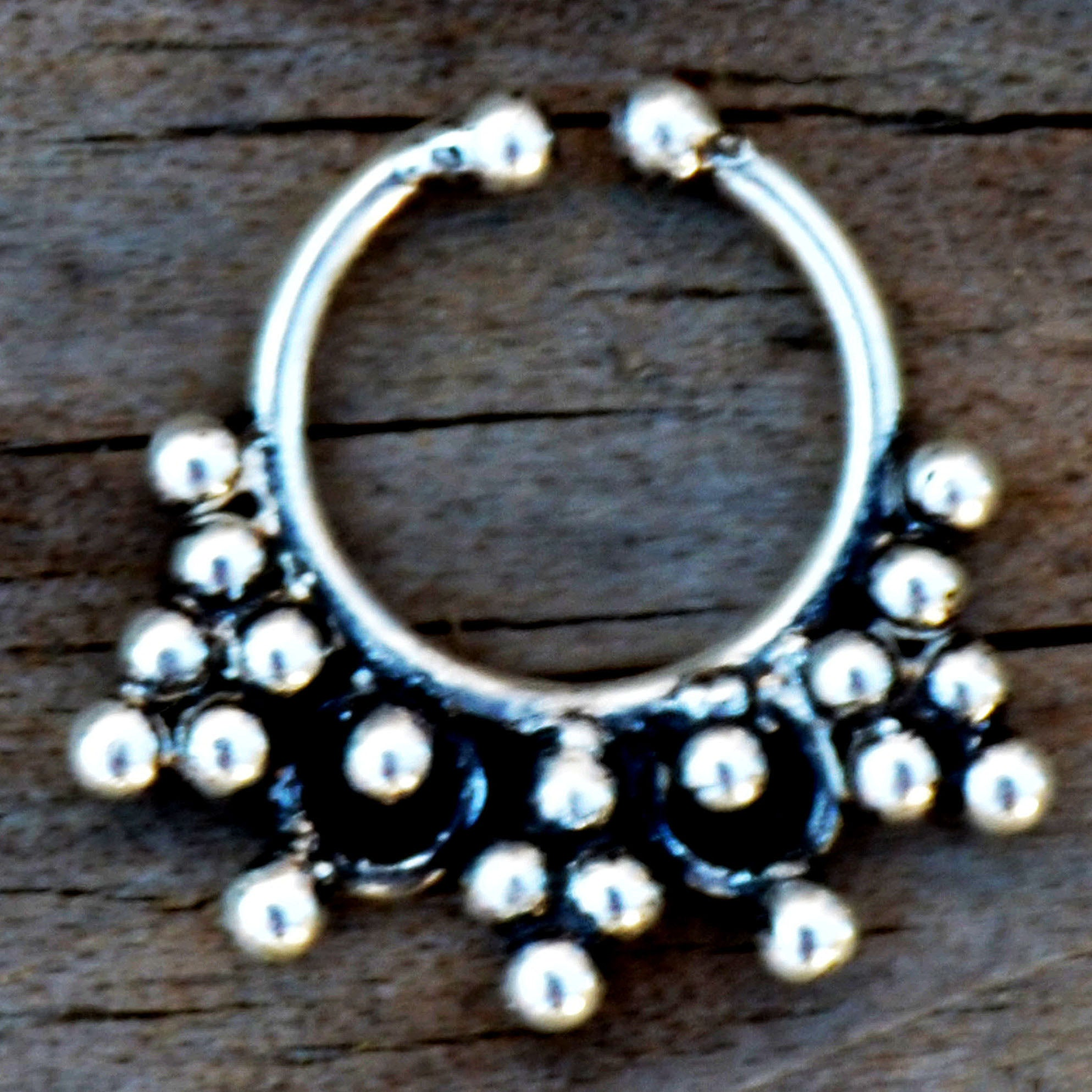 Silver tribal faux nose ring