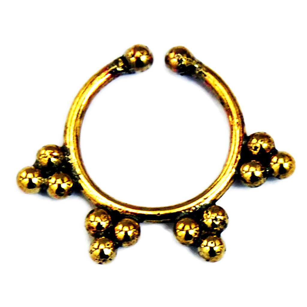 Gold ethnic faux septum ring