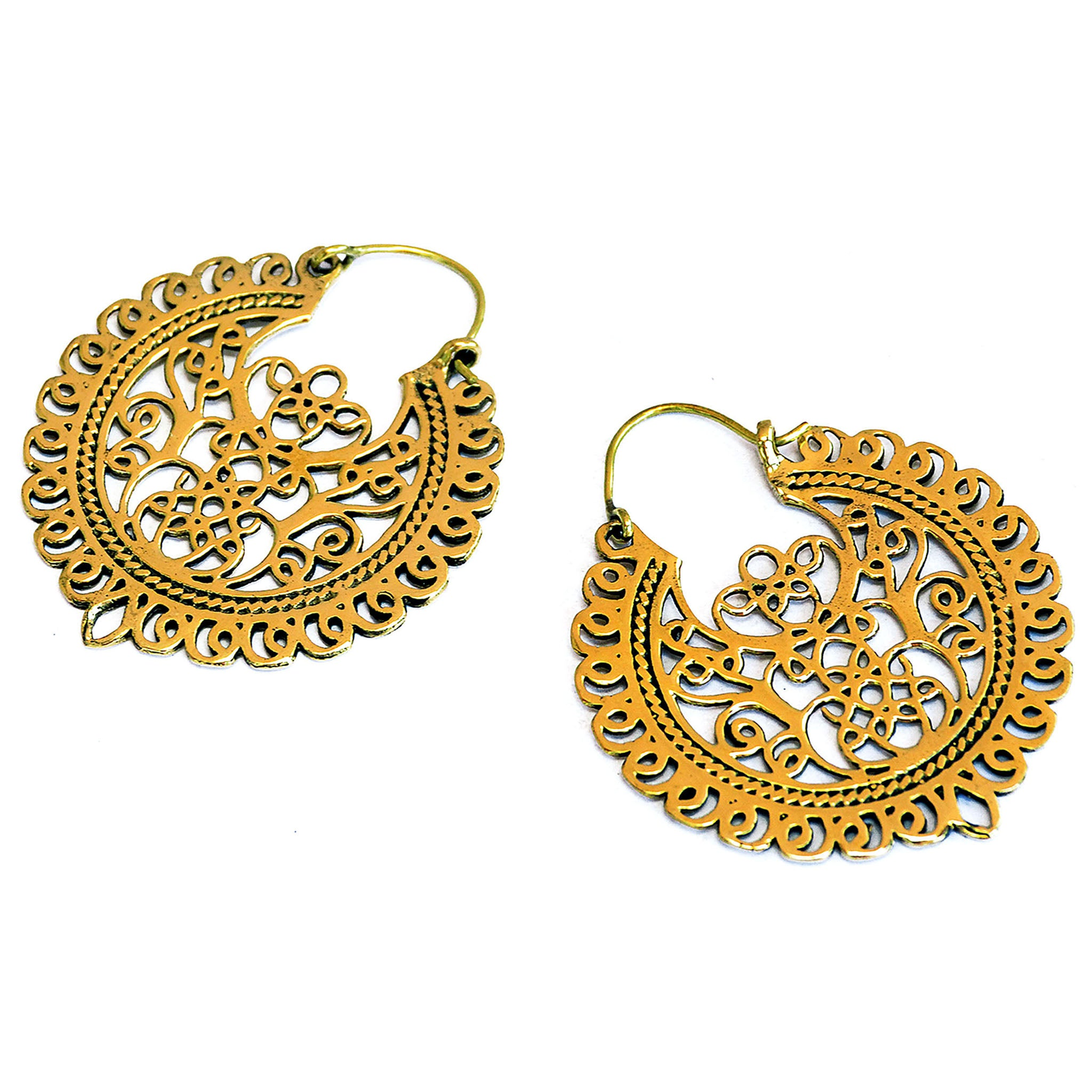 Ornate brass hoop filigree earrings