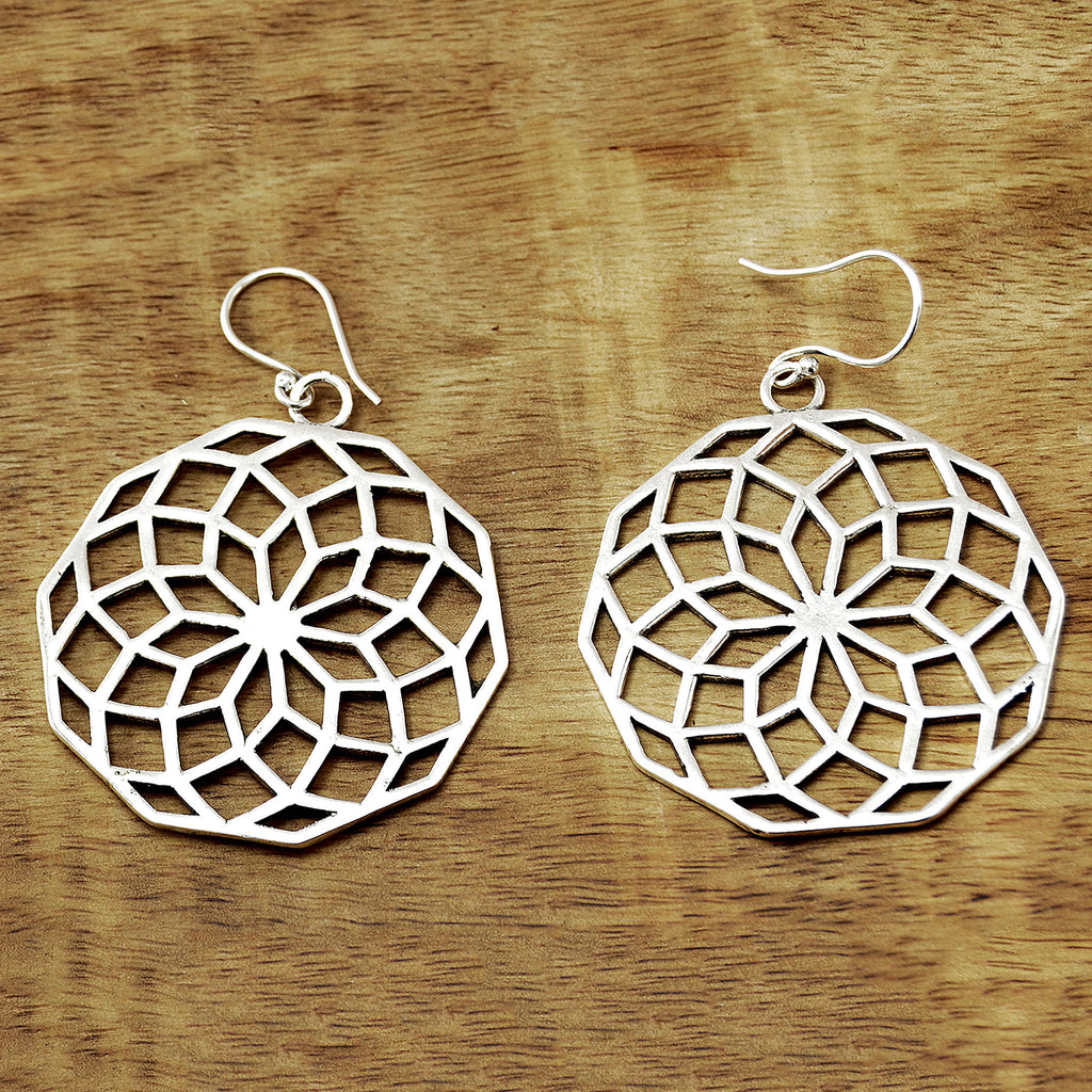 Silver flower of life earrings