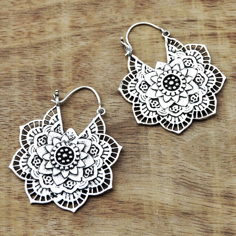 Silver flower mandala earrings