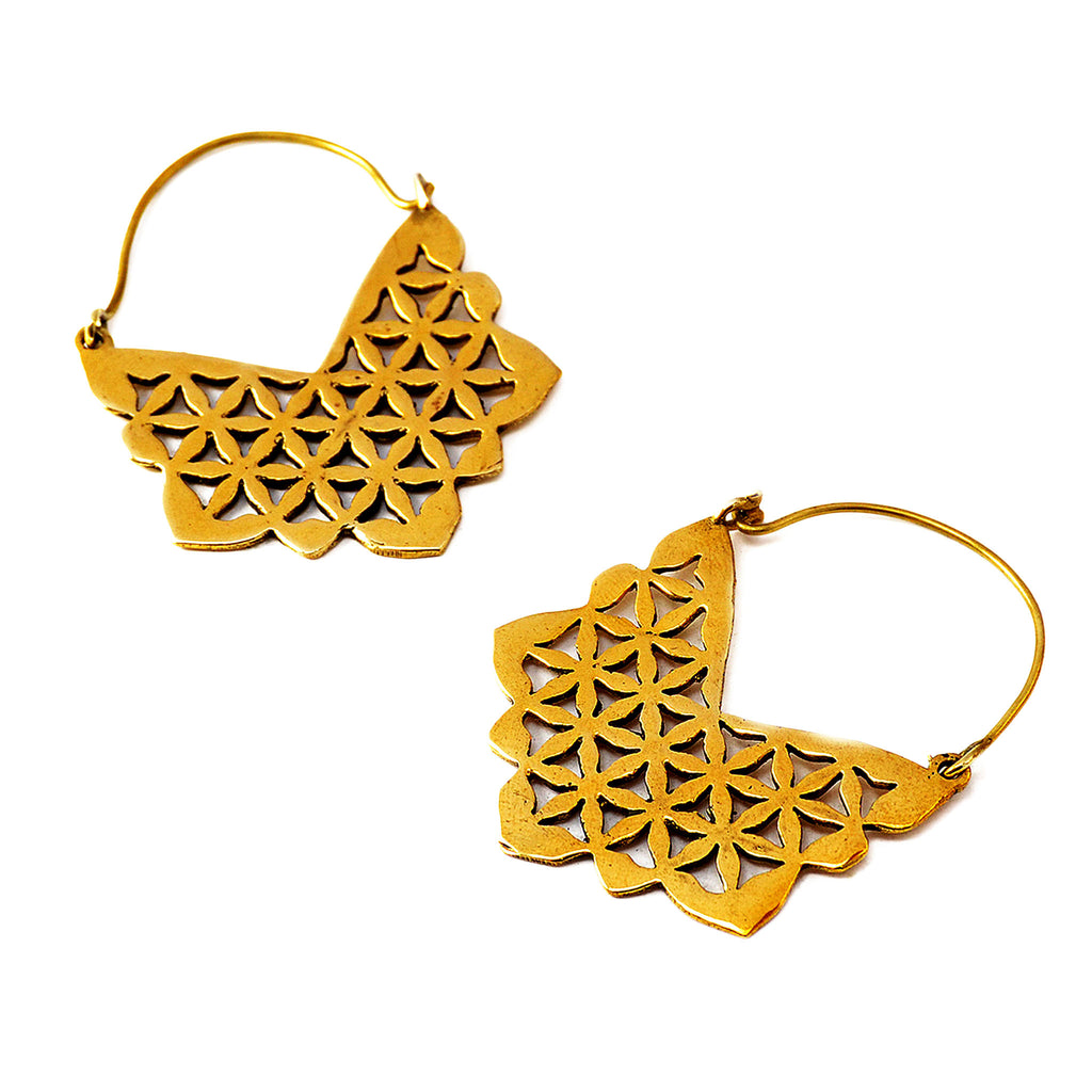 Large geometric brass earrings