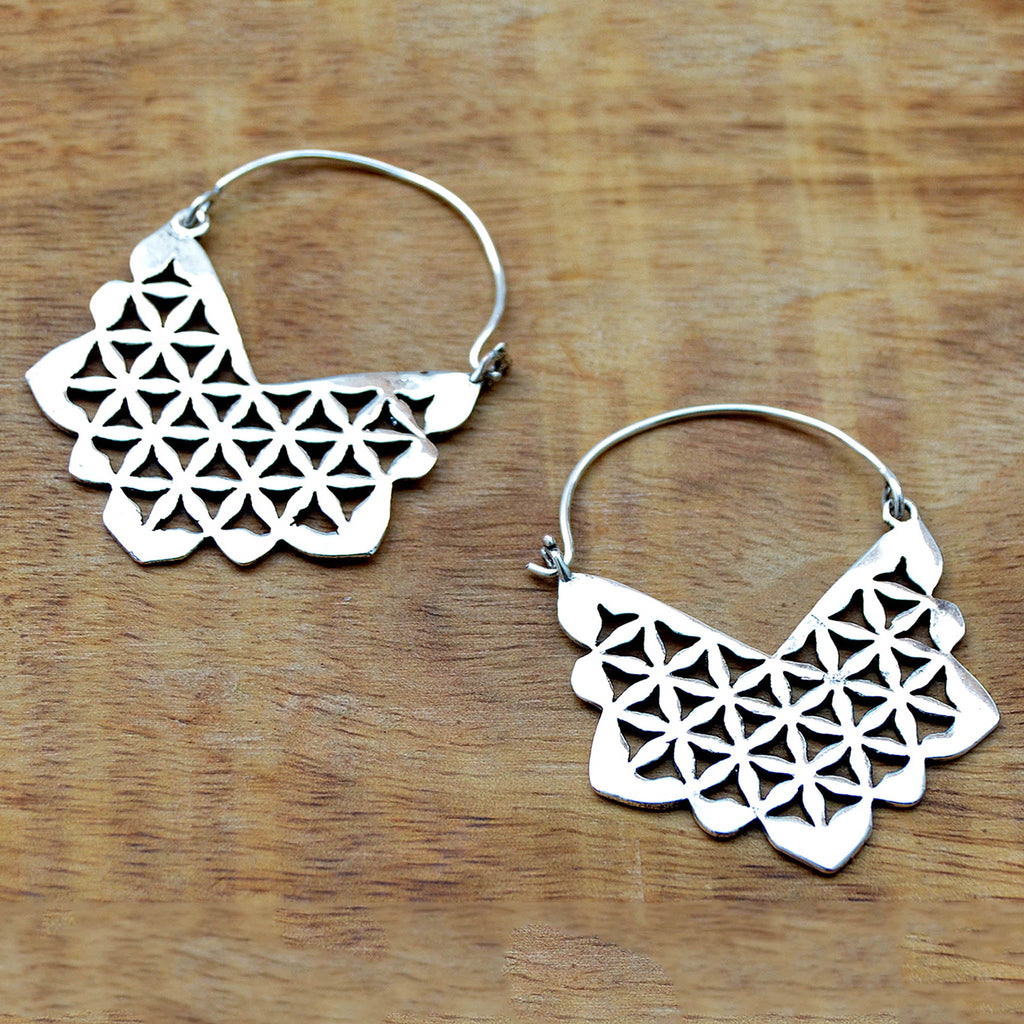 Boho silver geometric earrings