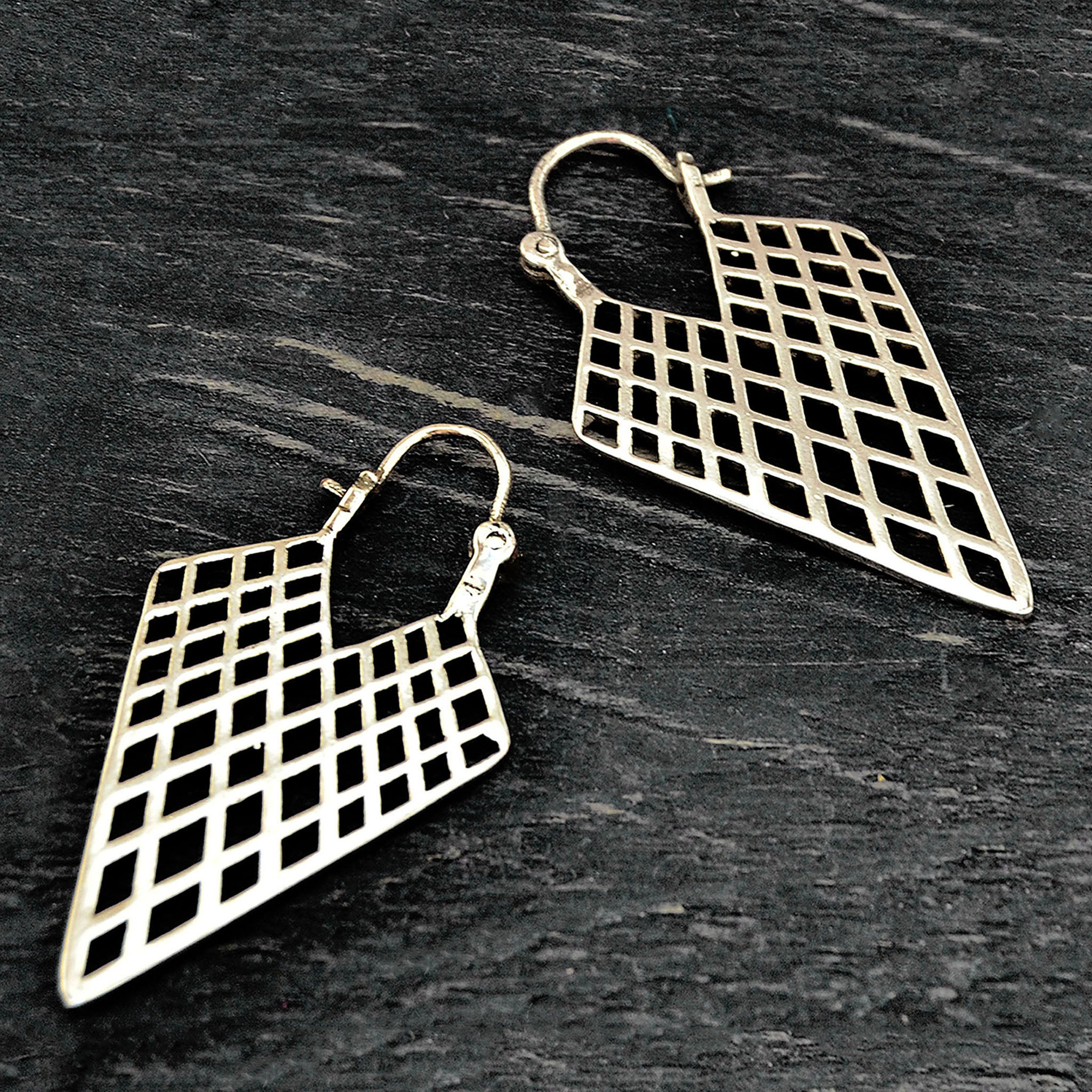 Silver boho geometric triangle earrings