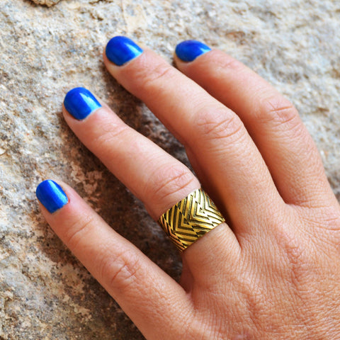 Gold african tribal ring