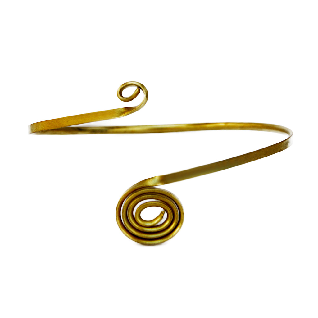 Gold bohemian spiral arm band