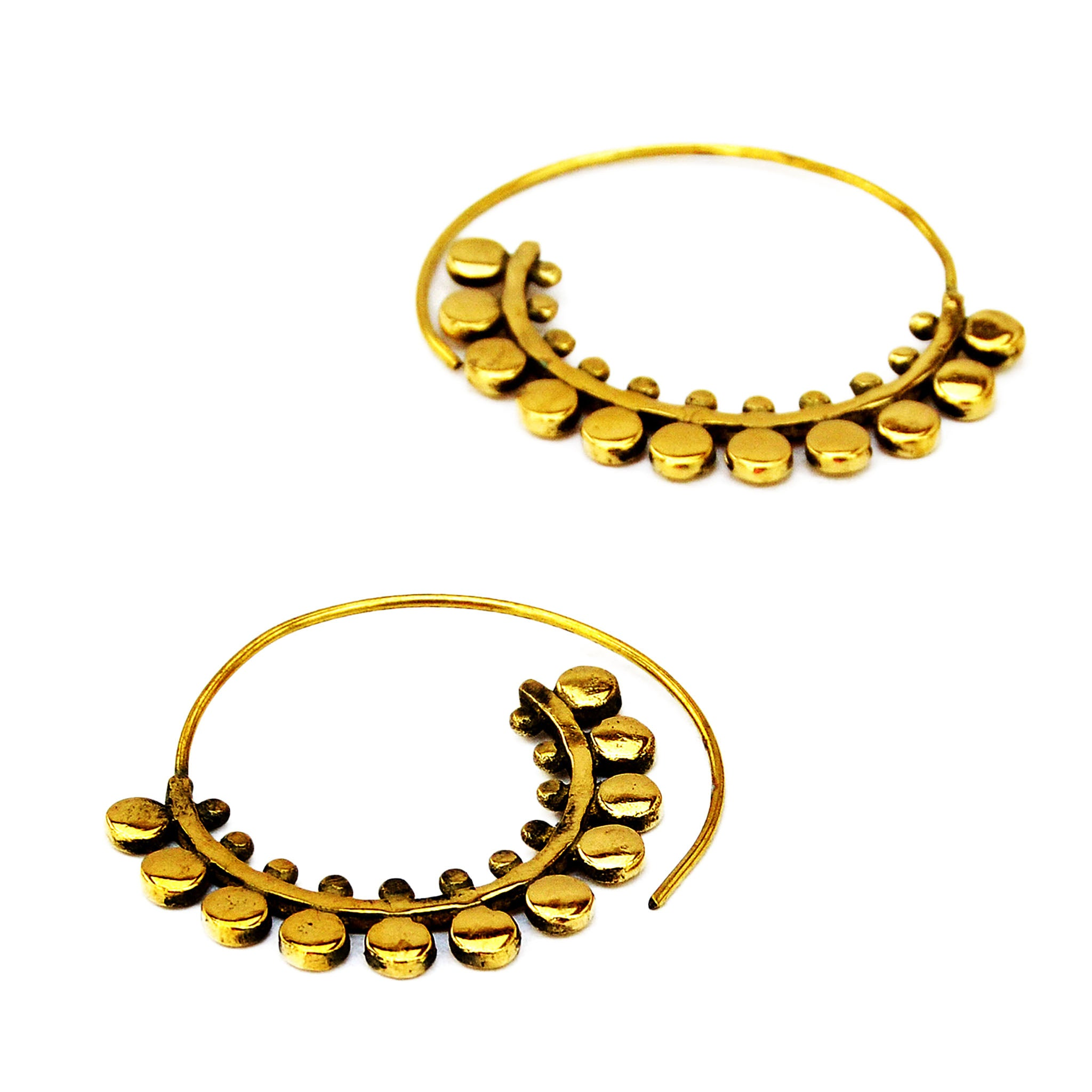 Spiral rajasthani brass earrings