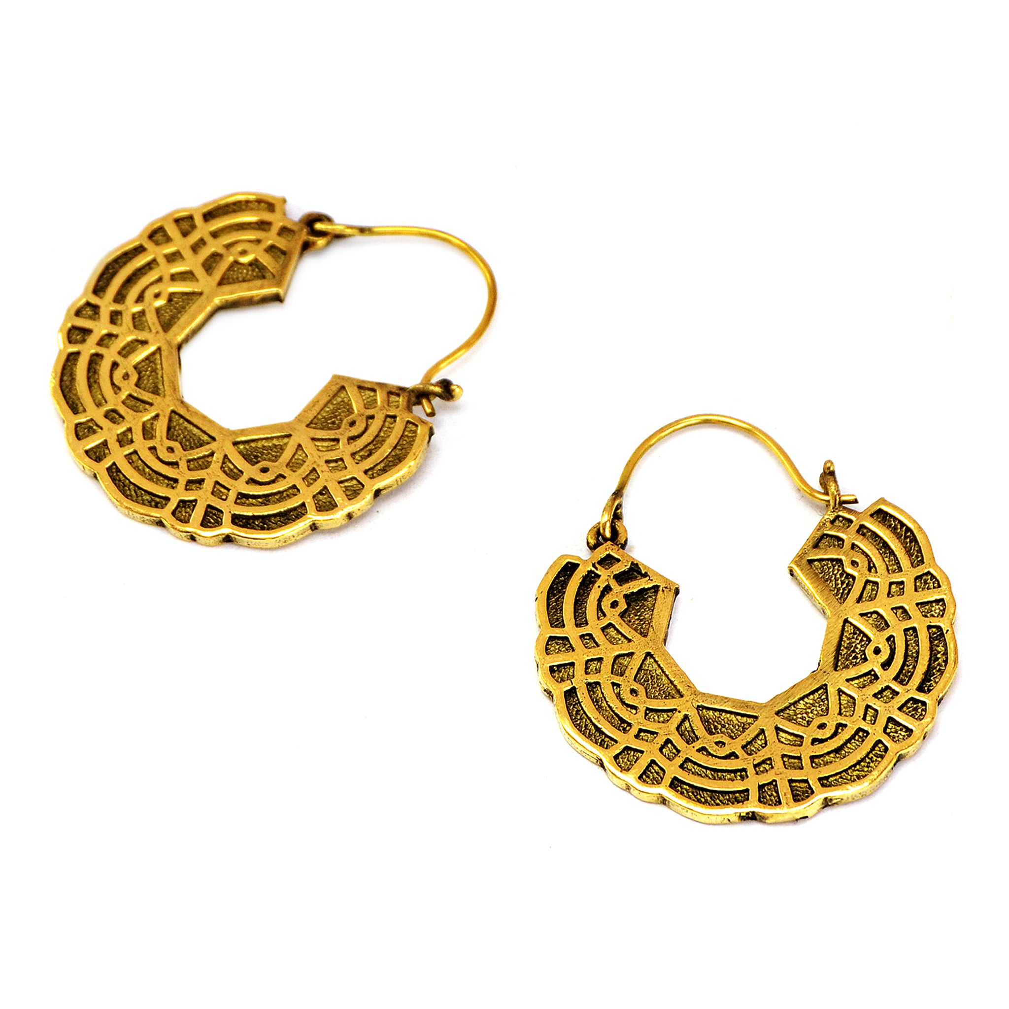 Brass mandala earrings with ethnic indian design