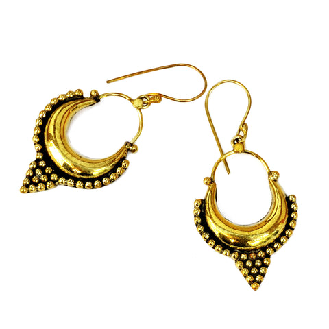 Indian gypsy hoop earrings handmade in brass
