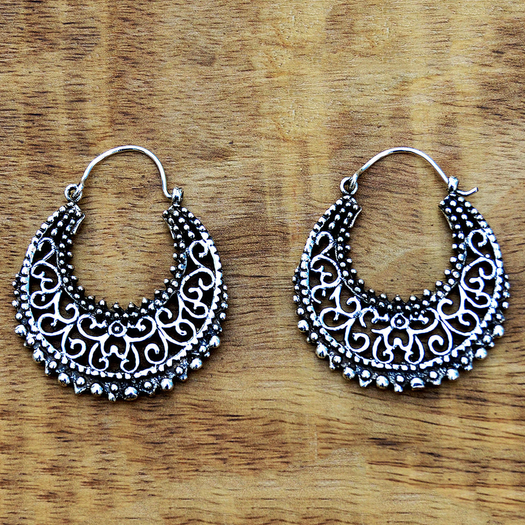 Silver indian hoop earrings