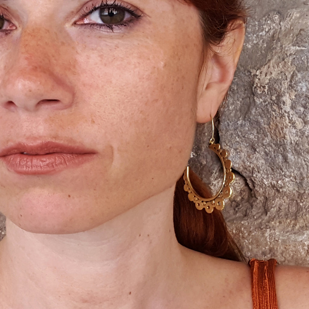 Gypsy indian brass hoop earrings