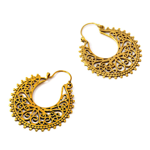 Indian gypsy hoop earrings brass