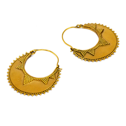 Large brass indian hoop earrings