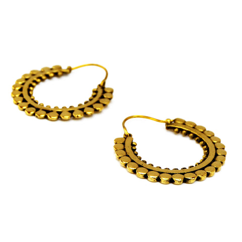 Gypsy brass hoop earrings