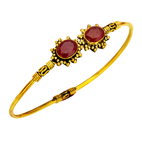 Indian rajhastani gold bracelet with red gemstone