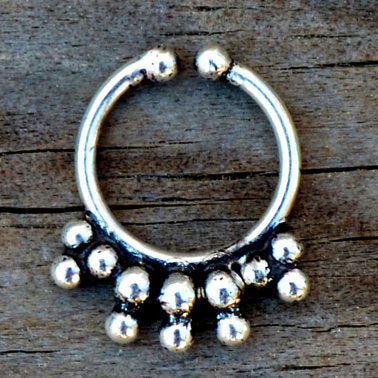 Silver gypsy fake septum ring