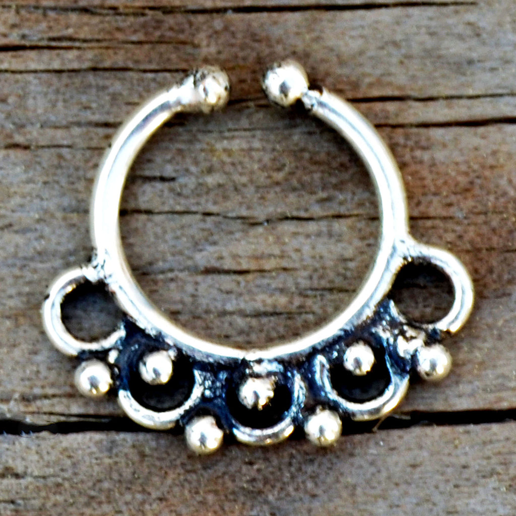 Silver indian gypsy fake septum ring