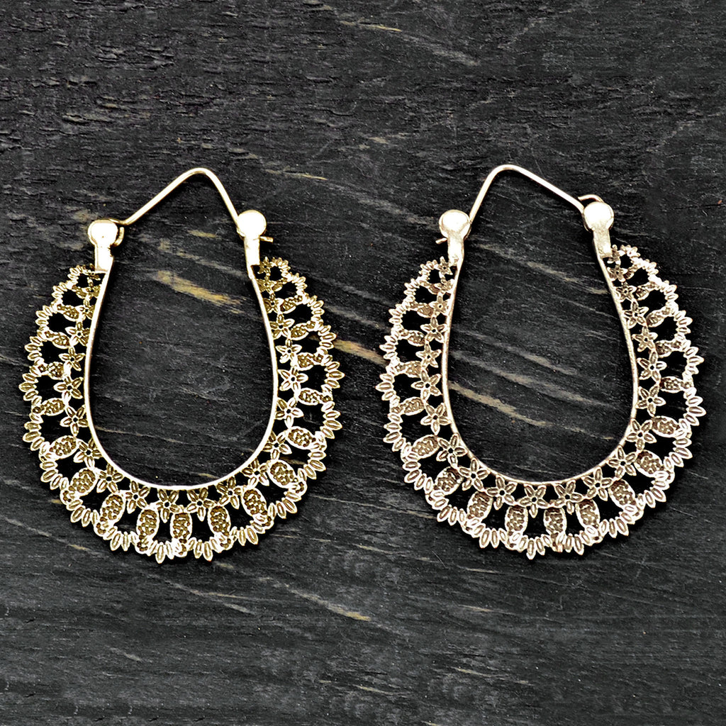 Indian gypsy silver hoop earrings