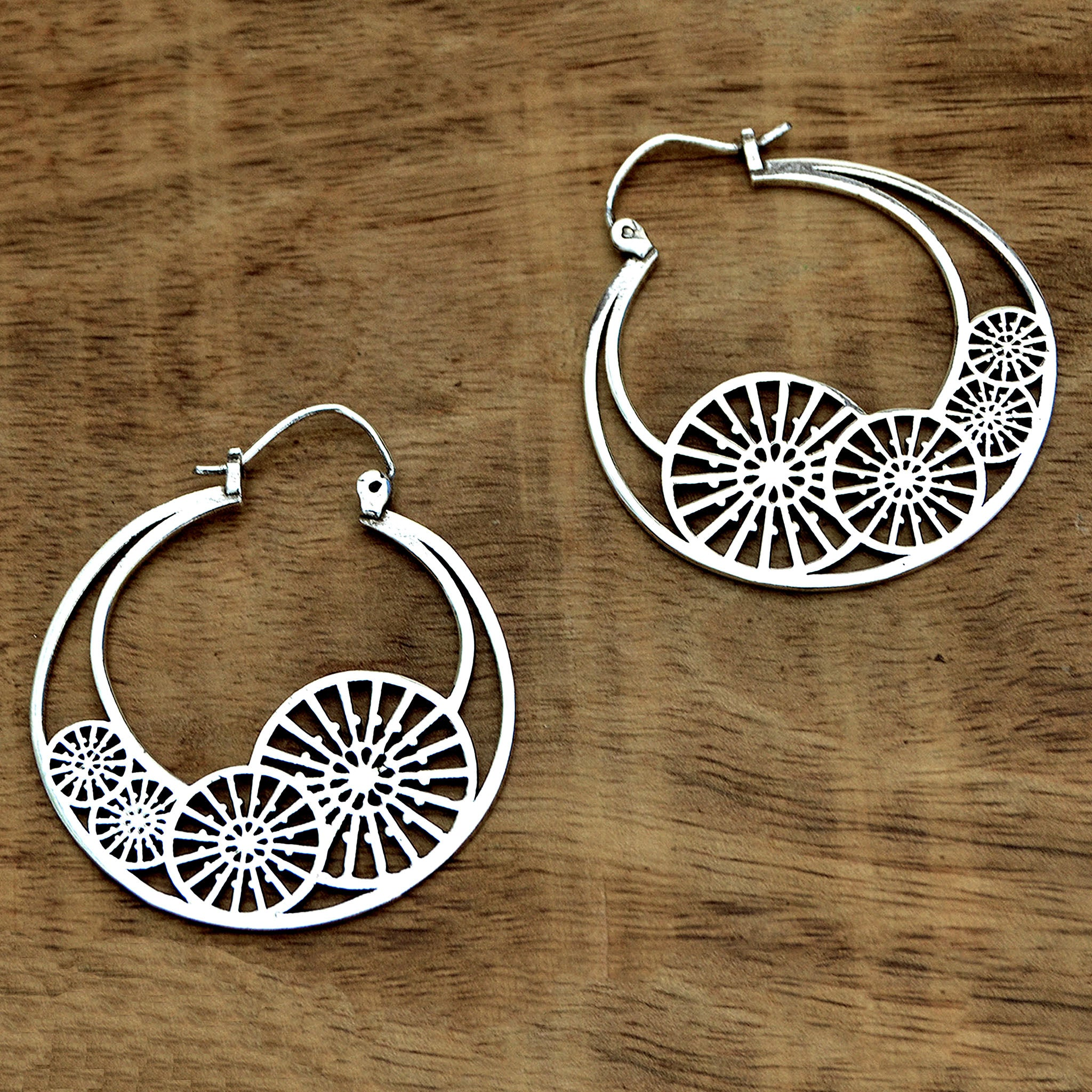 Gypsy tribal silver hoop earrings