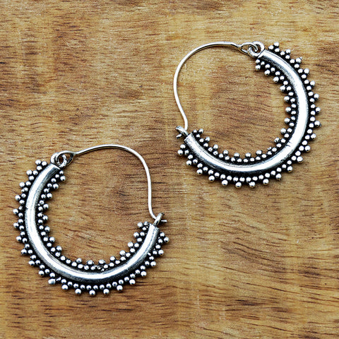 Indian silver gypsy hoop earrings