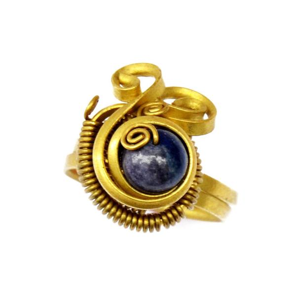 Swirl foot ring with lapis