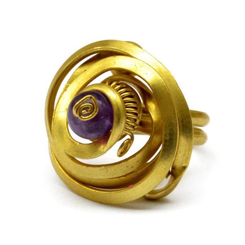 Gold Spiral Toe Ring with Amethyst