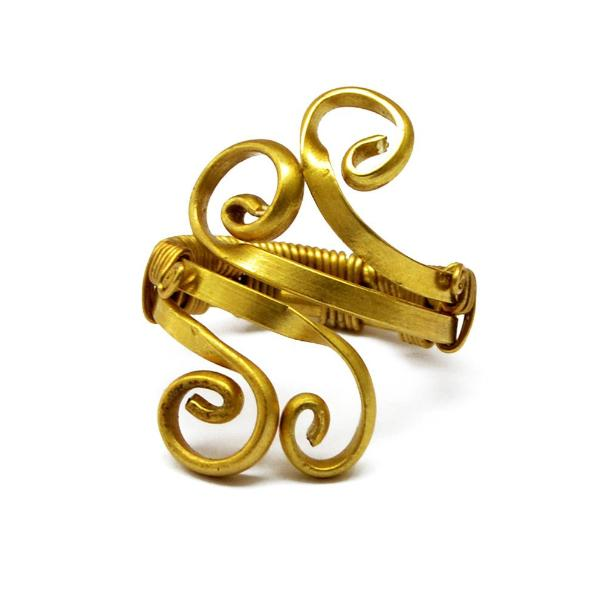 Gold spiral toe ring