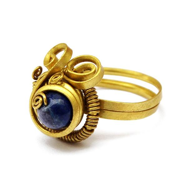 Boho toe ring with blue stone