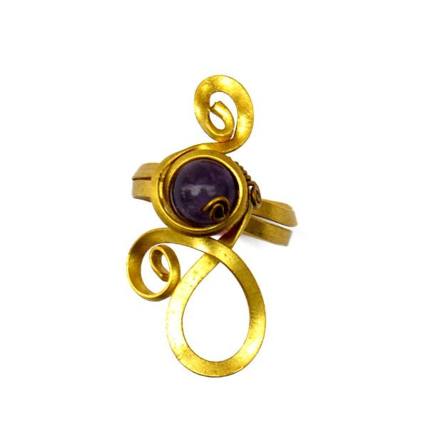 Brass toe ring with amethyst stone