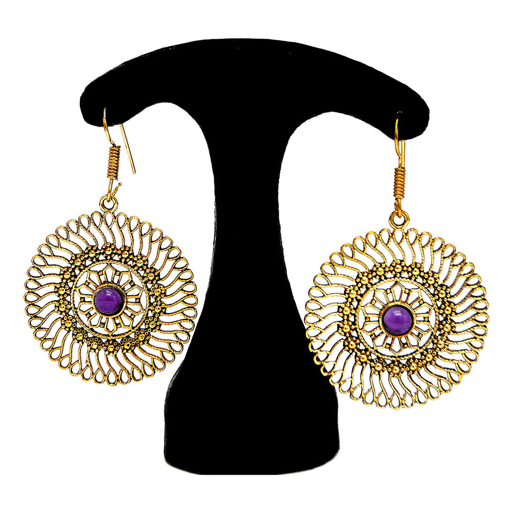 Indian brass mandala earrings with amethyst
