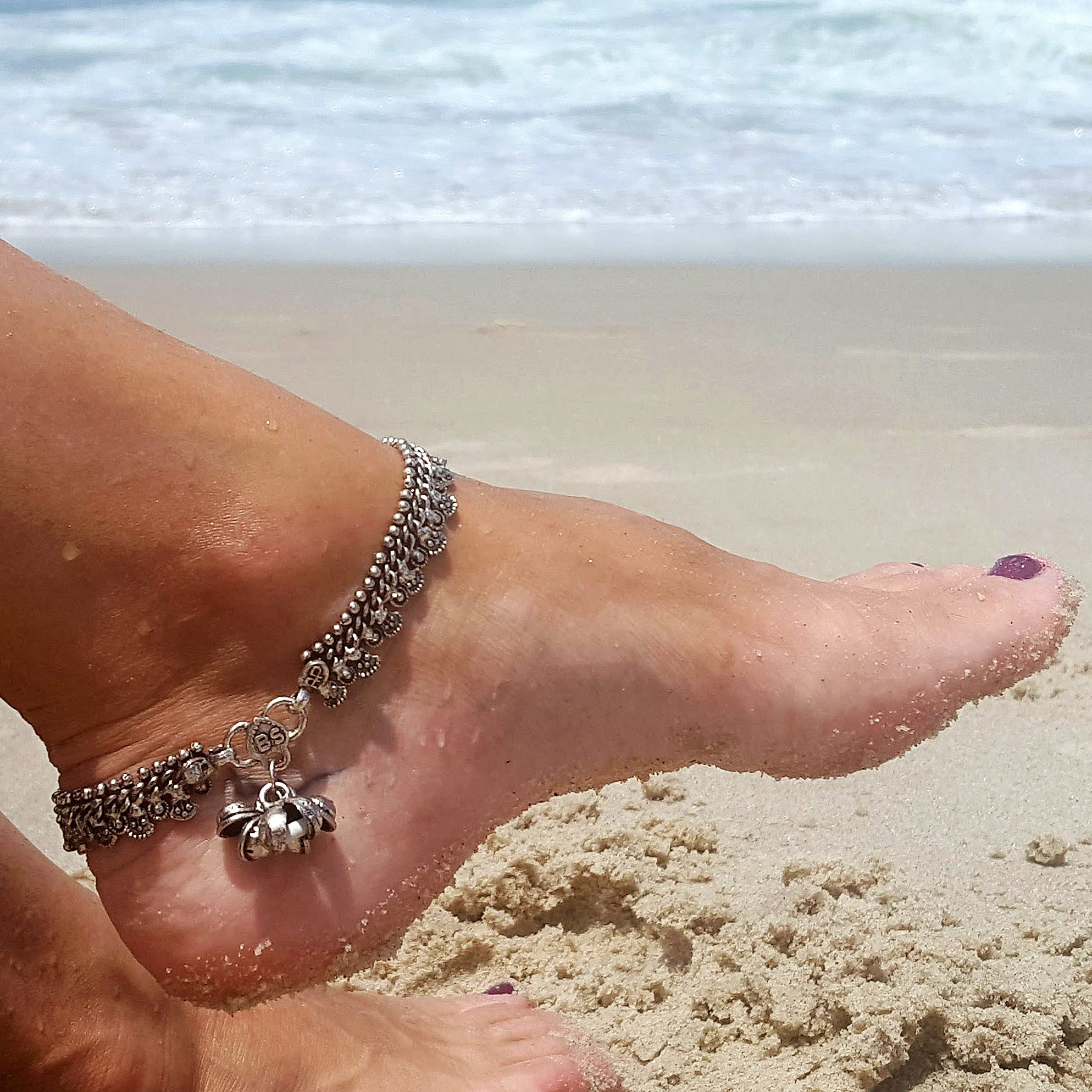 Silver indian anklet