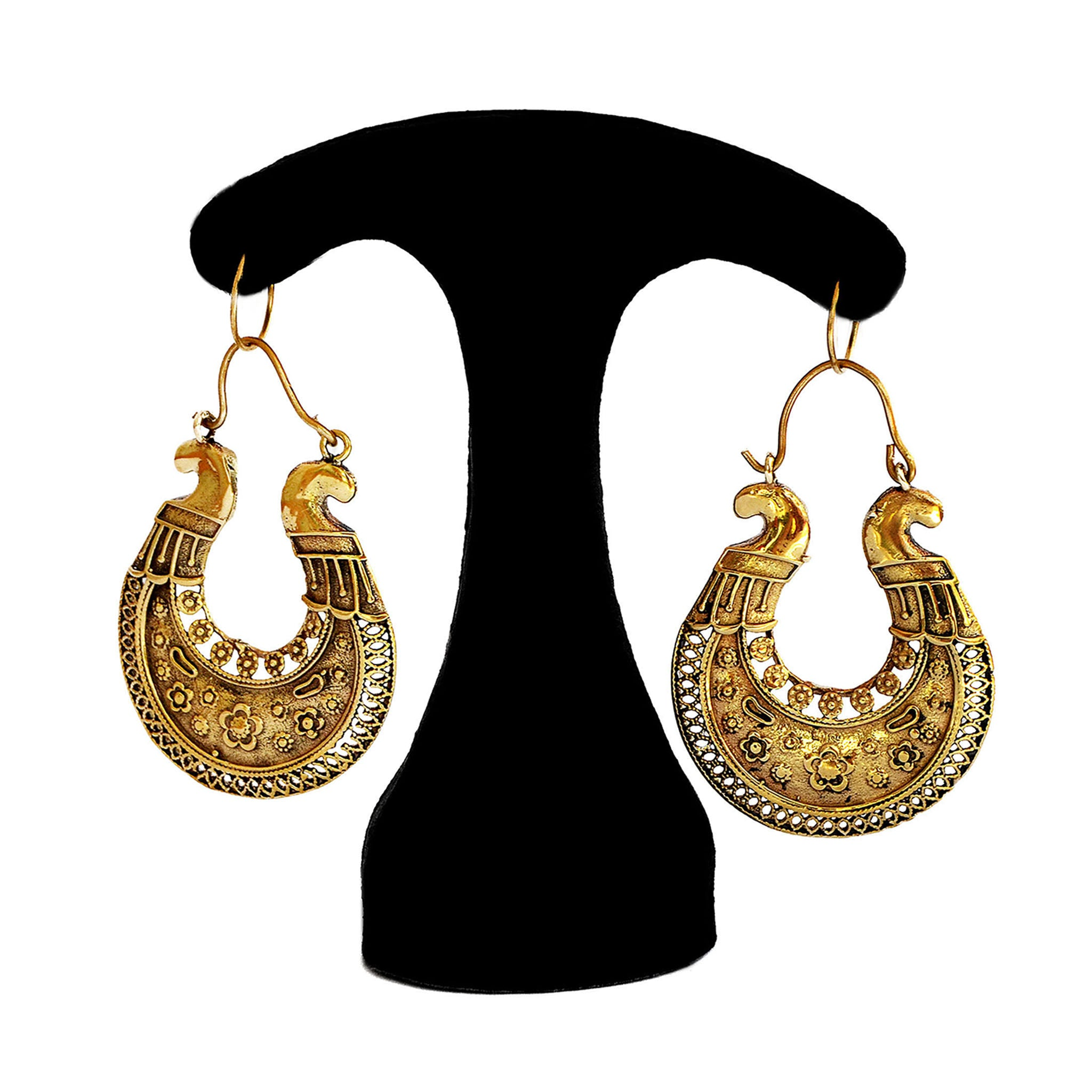 Indian brass hoop earrings