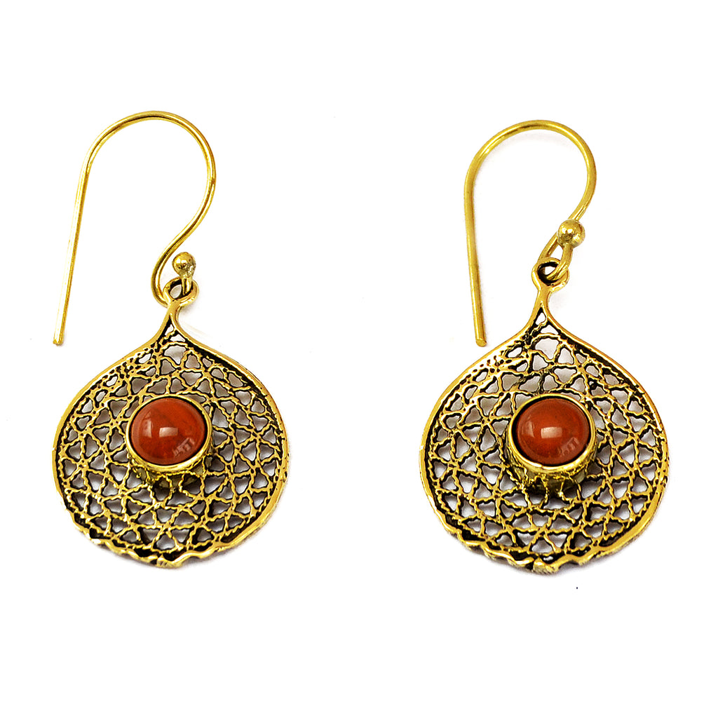 Indian brass filigree earrings with red jasper stones