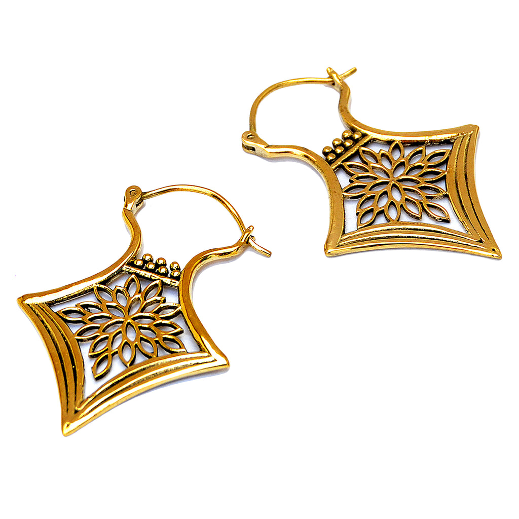 Brass ethnic floral earrings